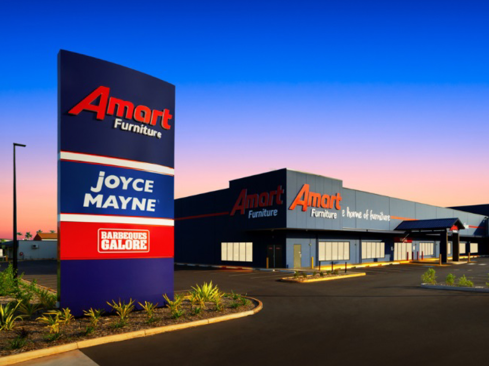 Amart Furniture exterior shot and lighting installation